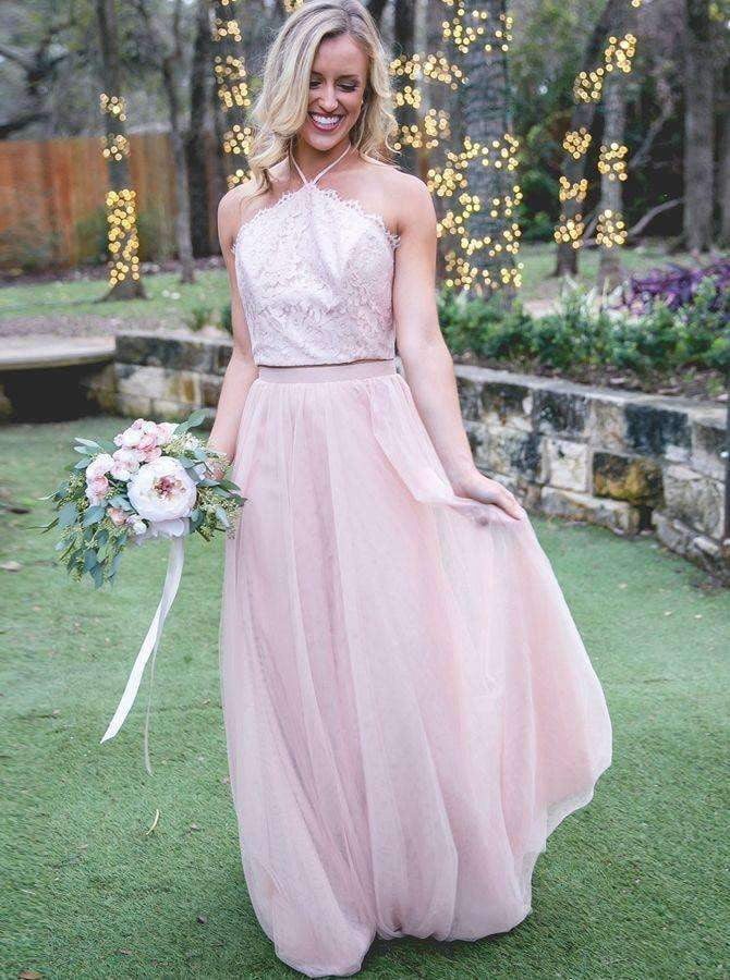 Pink Halter Sleeveless Backless Lace A Line Tulle Bridesmaid Dresses
