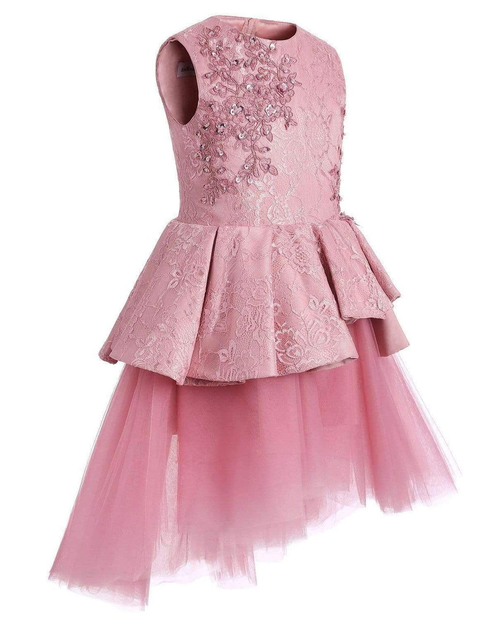 Pink Lace Tulle High Low Ruffles Cute Flower Girl Dresses , FGS051