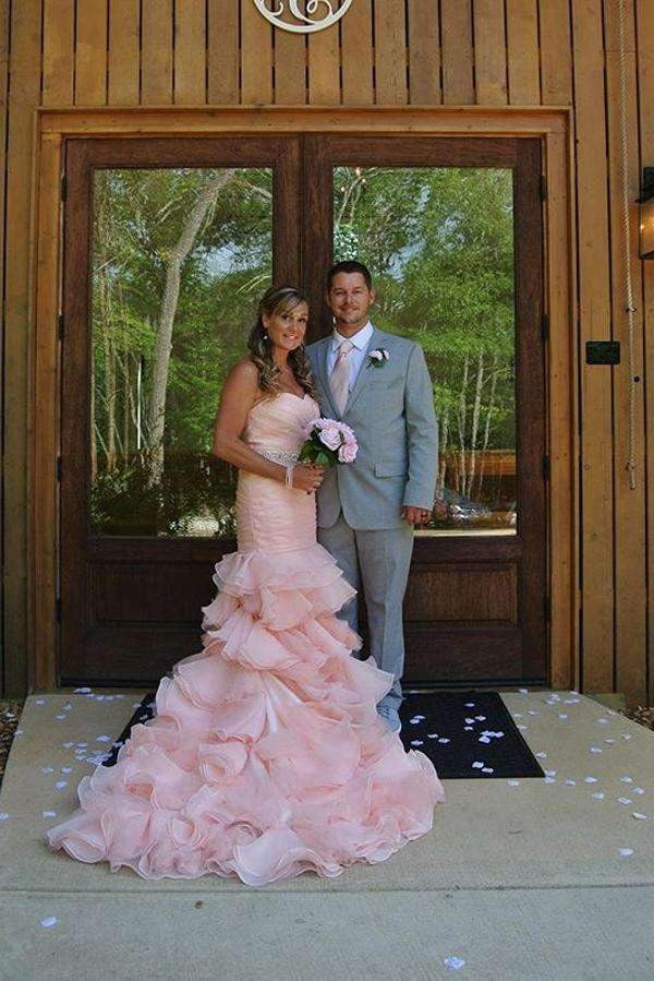 Pink Mermaid Court Train Sweetheart Sleeveless Ruffles Lace Up Wedding Gowns,Wedding Dress W265