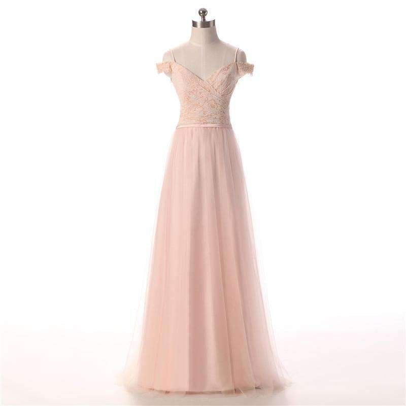 Pink Off Shoulder A Line Bridesmaid Dresses Affordable Prom Dresses With Lace