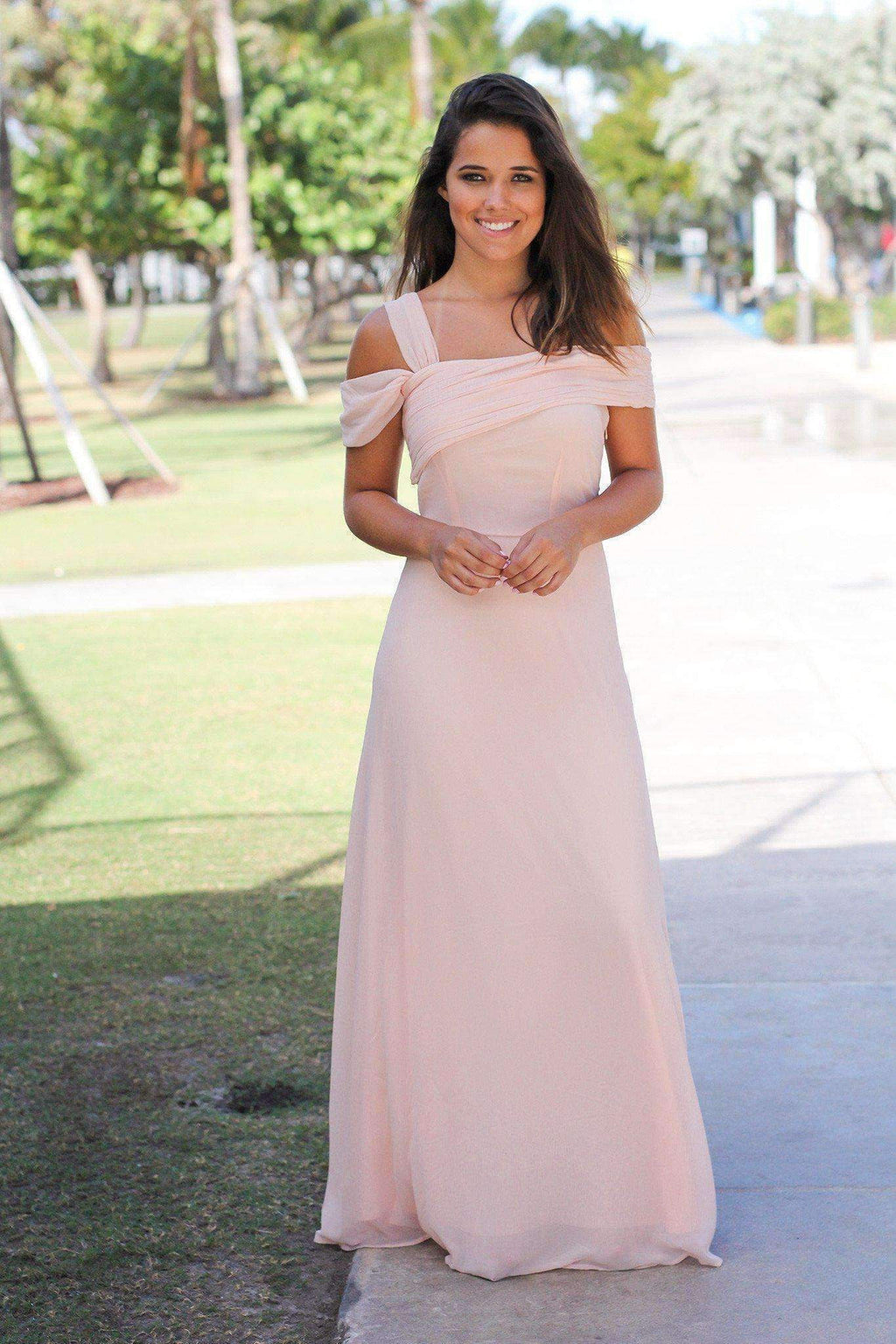 Pink Off Shoulder Sleeveless A Line Ruffles Chiffon Bridesmaid Dresses