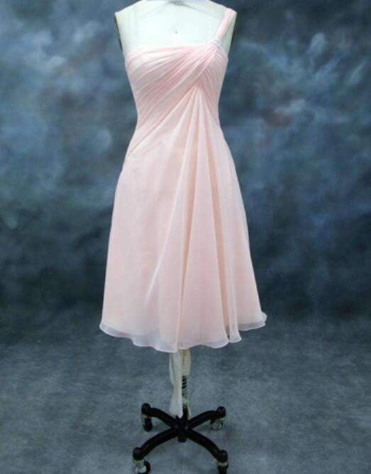 Pink One Shoulder A Line Bridesmaid Dresses Inexpensive Prom Dresses With Ruched