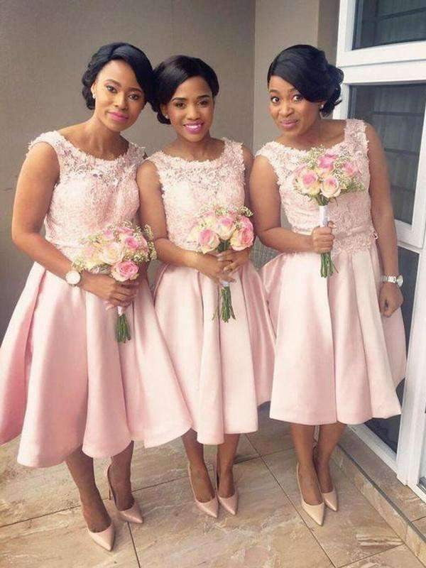 Pink Round Neck Sleeveless A Line Short Bridesmaid Dresses With Lace