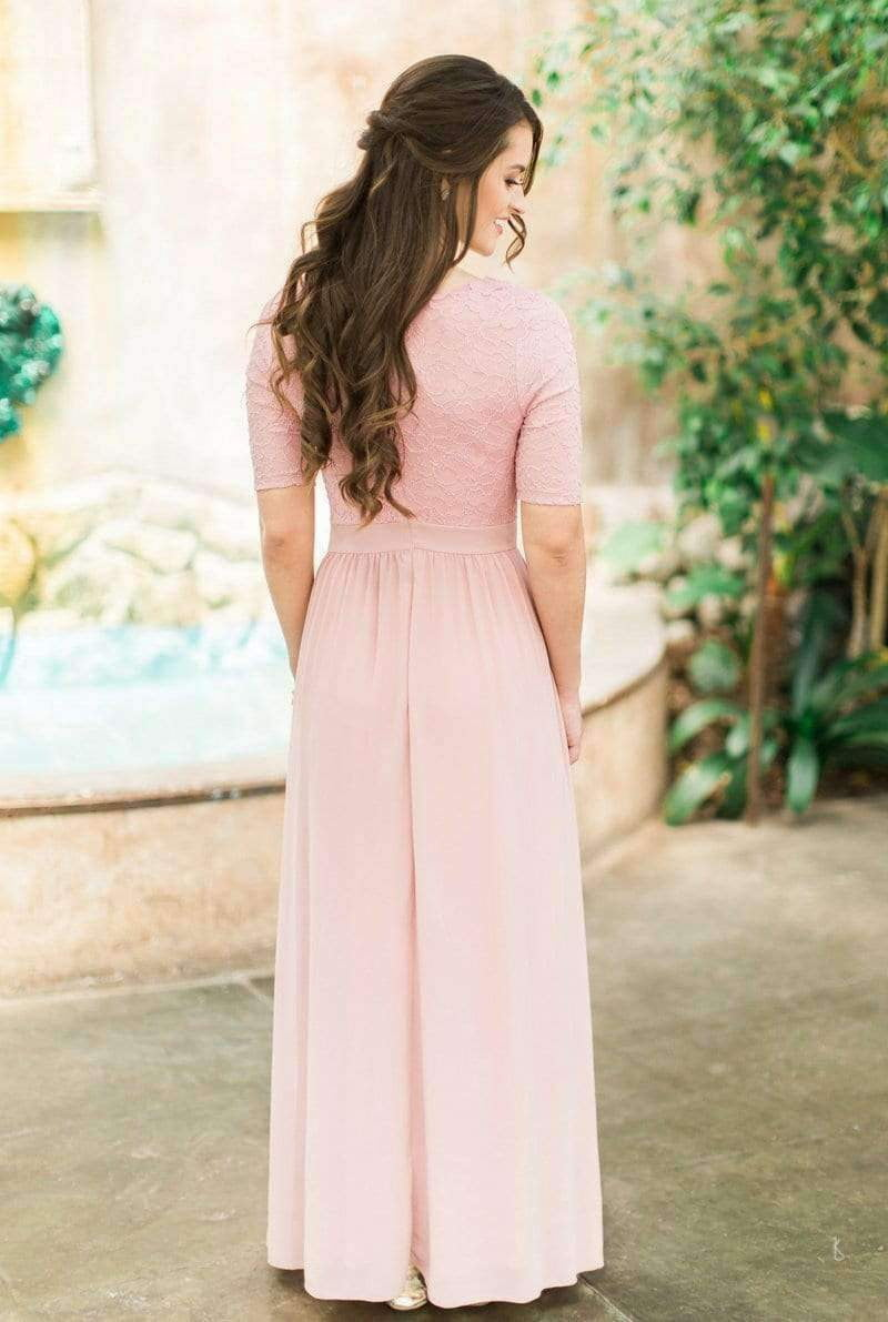 Pink Scoop Neck Half Sleeve Ruched Chiffon Bridesmaid Dresses With Lace