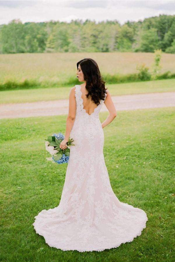 Pink Sheath Court Train V Neck Open Back Lace Wedding Gown,Wedding Dress W12