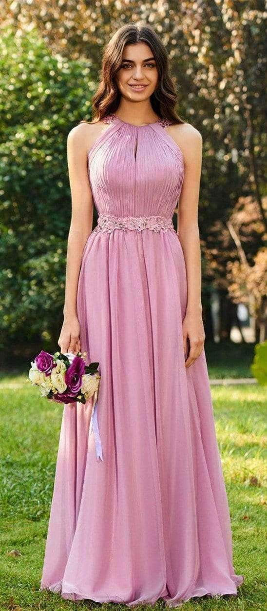 Pink Sleeveless Backless A Line Ruffles Chiffon Bridesmaid Dresses With Lace