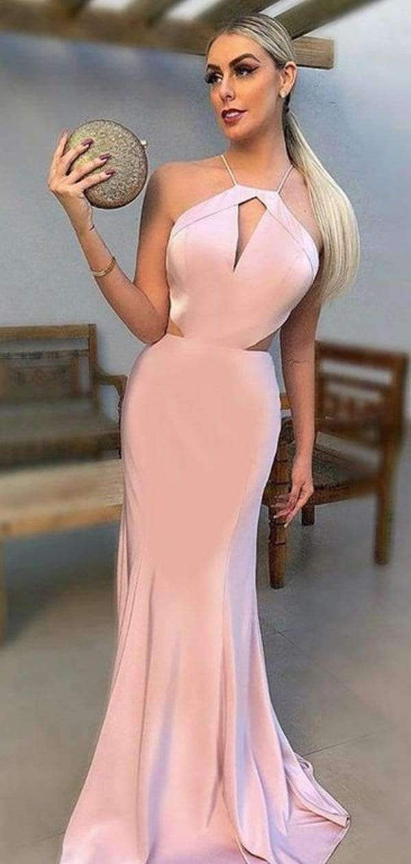 Pink Spaghetti Strap Halter Mermaid Cheap Prom Dresses .PD00234