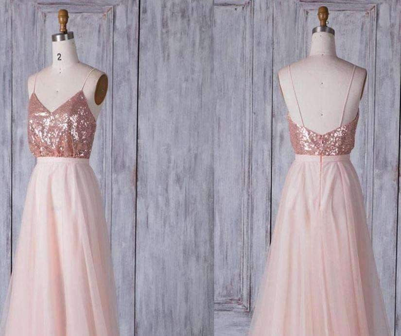 Pink Spaghetti Straps V Neck Sleeveless Tulle A line Maxi Bridesmaid Dresses With Sequin