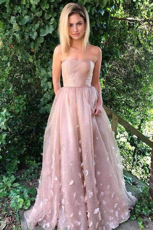 Pink Strapless A Line Sweep Train Flower Appliques Floor Length Sleeveless P827