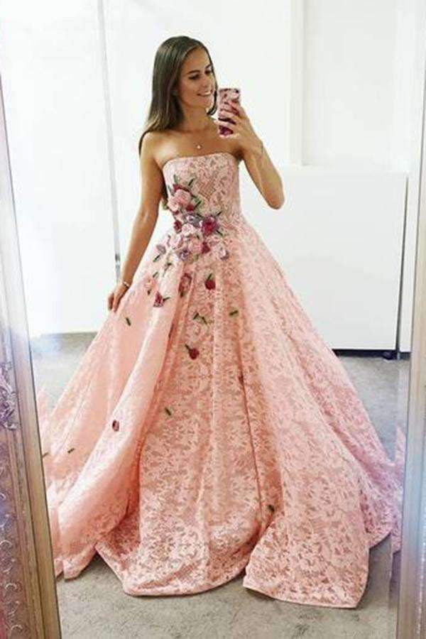Pink Strapless Lace A Line Prom Dress Ball Gown with Appliques P879
