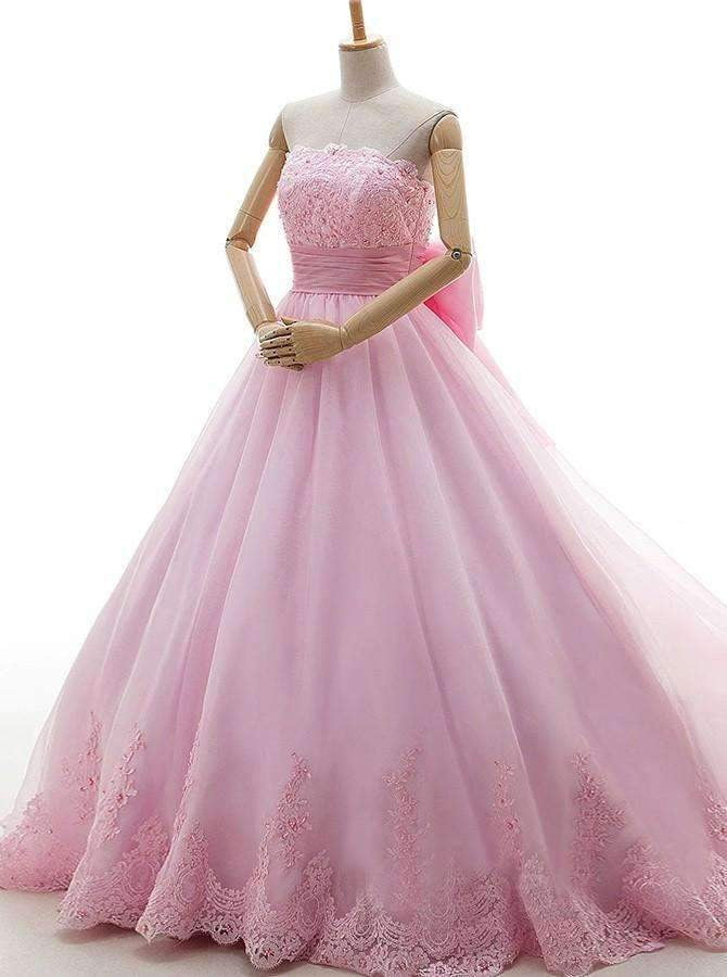 Pink Tulle Strapless With Bowknot Sleeveless Appliques Ball Gown Wedding Dress W406