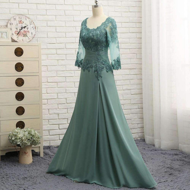 Plus Size Green 2020 Mother Of The Bride Dresses A-line V-neck Chiffon Lace Wedding Party Dress Mother Dresses For Wedding