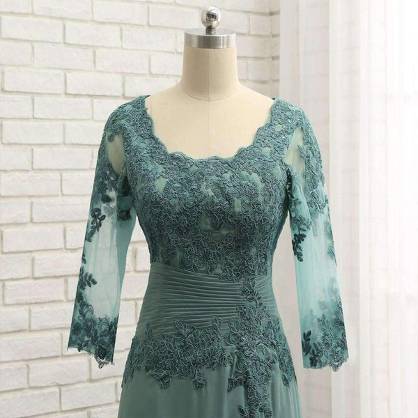 Plus Size Green 2019 Mother Of The Bride Dresses A-line V-neck Chiffon Lace Wedding Party Dress Mother Dresses For Wedding