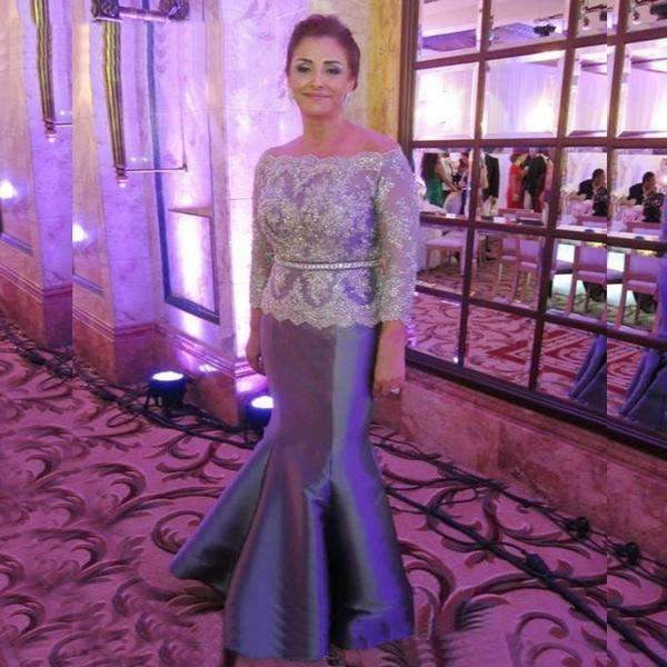 Plus Size Silver Gray Mother Of The Bride Dresses For Weddings 2019 Long Sleeve Vintage Lace Beaded Mermaid Formal Evening Gowns