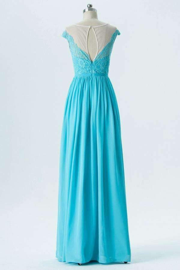Pool Blue A Line Floor Length Sheer Neck Capped Sleeve Lace Appliques Bridesmaid Dresses OB133
