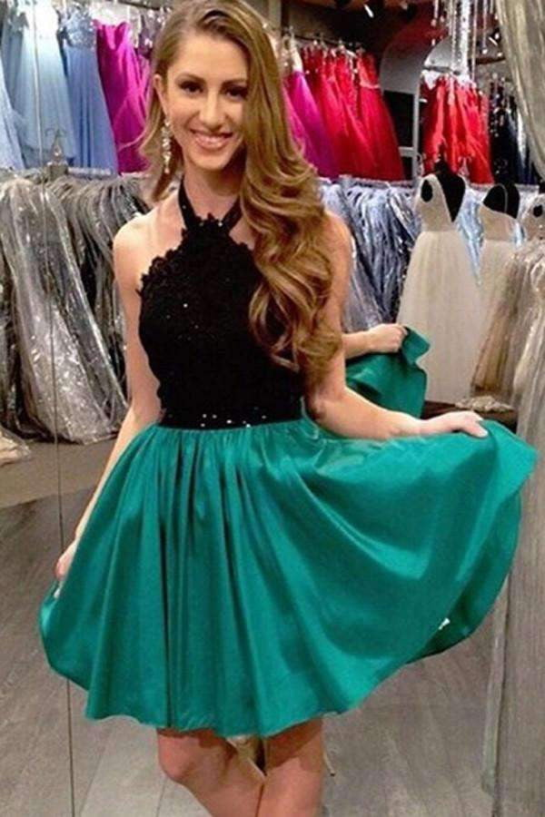 Popular A-Line Green Homecoming Dresses,Lace Up Sleeveless Short Prom Dresses2019 HCD30
