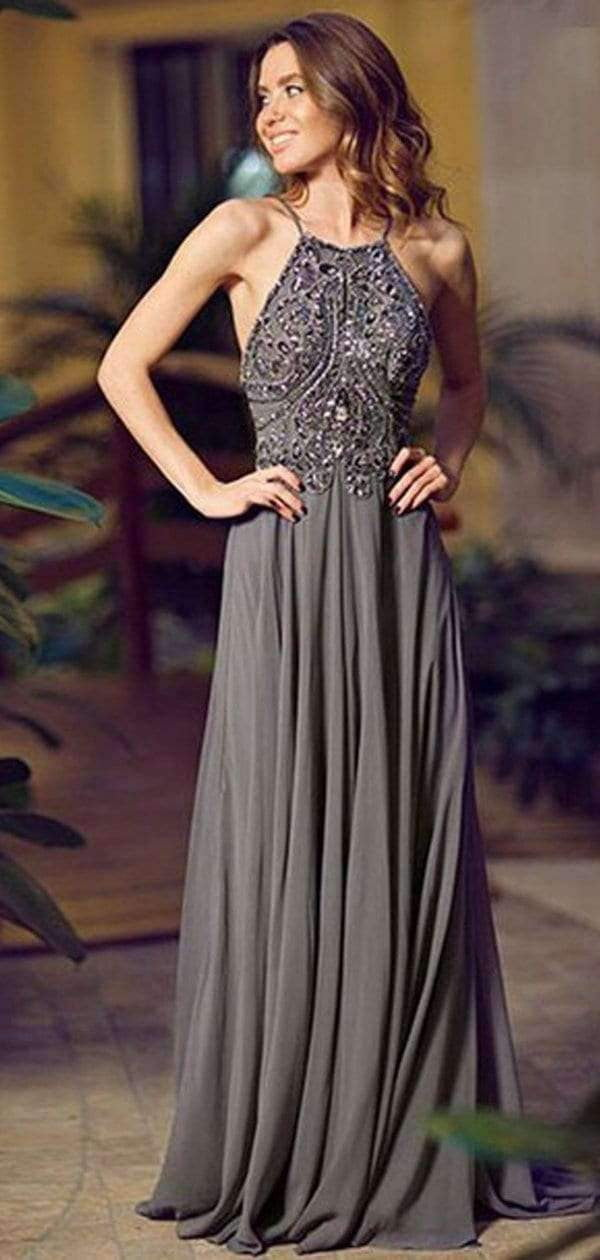 Popular Gray Chiffon Cheap Backless Sexy Evening Prom Dresses,PD0032