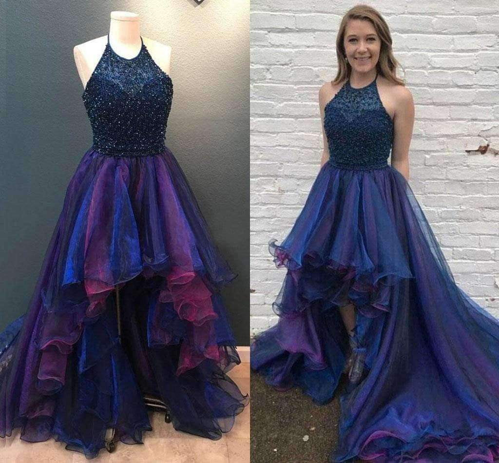Popular High Low Navy Beaded Halter Ruffles Ball Gown Prom Dresses,PD00038