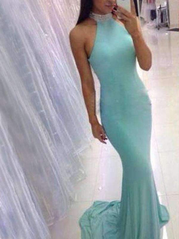 Popular High Neck Mermaid Tiffany Blue Elegant Evening Party Prom Dress ,PD0030