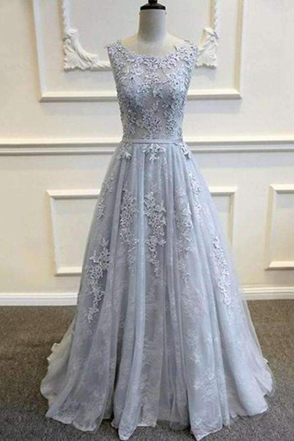 Princess A Line Boat Prom Dress,Floor Length Layers Tulle V Back Floral Evening Dress OMP12