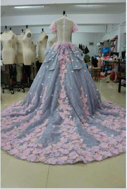 Princess Pretty Light Blue Long Backless Quinceanera Ball  Gowns,Long Party Dress P548