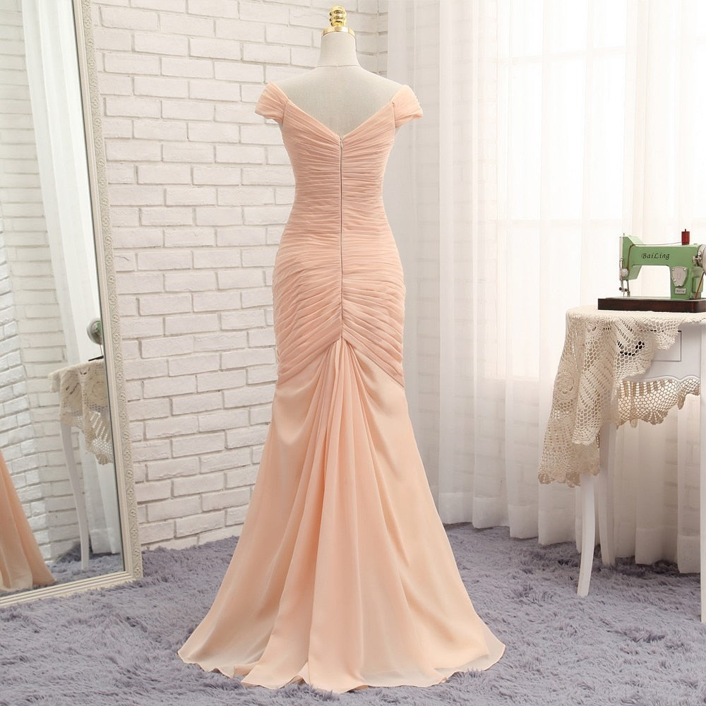 Pink Floor-Length Evening Dresses 2019 Mermaid Cap Sleeves Chiffon Pleated Long Evening Gown Prom Dress