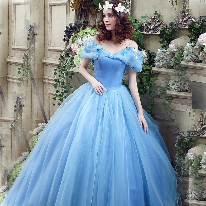 Hot Sale Fairy 16 Quinceanera Dresses Light Blue Off Shoulder With Butterfly Tiered Organza Puffy Ball Gowns
