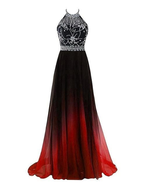 Halter Gradient Prom Dresses 2019 With Long Chiffon Plus Size Ombre Evening Party Gowns Vestido Longo QA1231