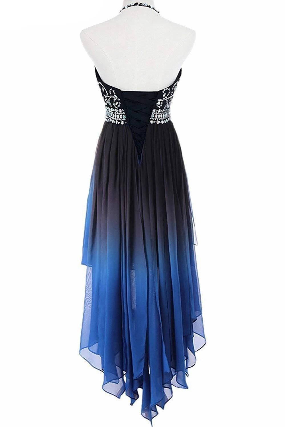 Ombre Gradient Chiffon Beads Homecoming Dresses With Sparkly Crystals 2019 High Low Beaded Blue Red Gala Dress for Women Halter Party Gown