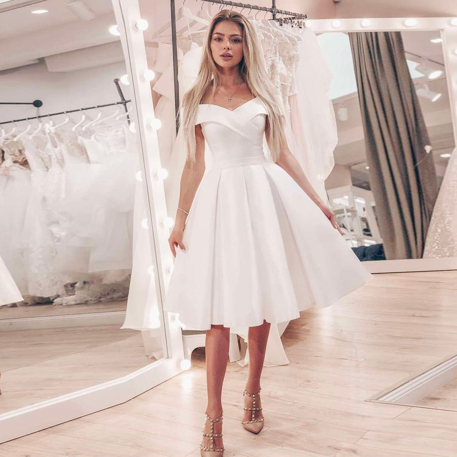 Cheap Satin Short Wedding Dress Bridal Gowns Simple Off the Shoulder A-line Wedding Dresses Robe De Mariage Plus Size