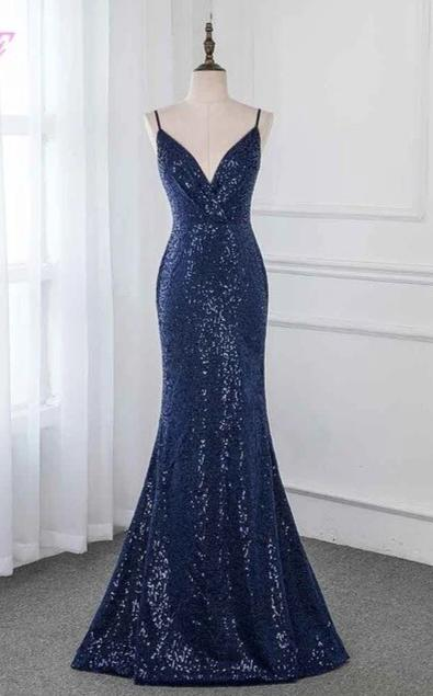 2020 Navy Blue Long Prom Dresses Sequins Sleeveless Formal Evening Gown Dress Backless