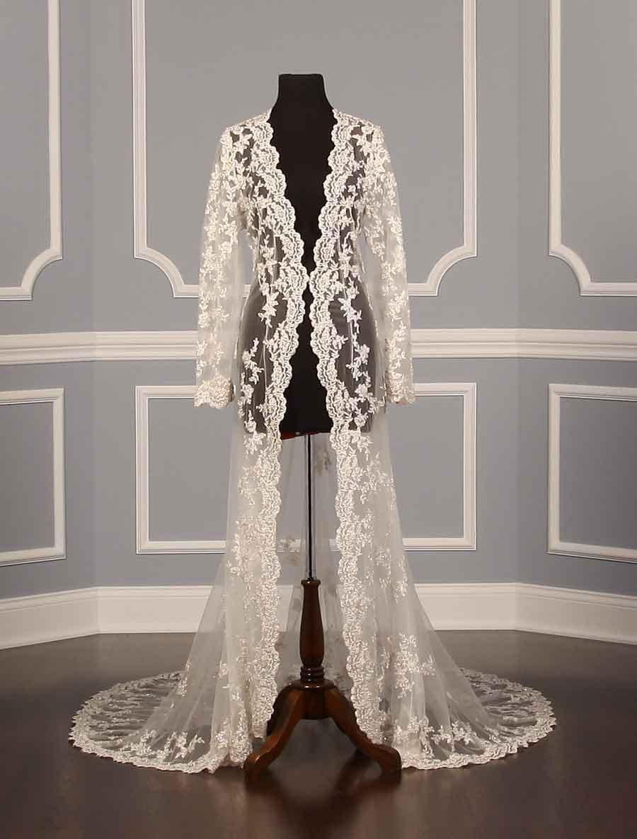 Ivory White New Lace Bridal Jackets Long Sleeves Bridal Coat Wedding Capes Wraps Bolero Jacket Wedding Dress Wraps Shrugs