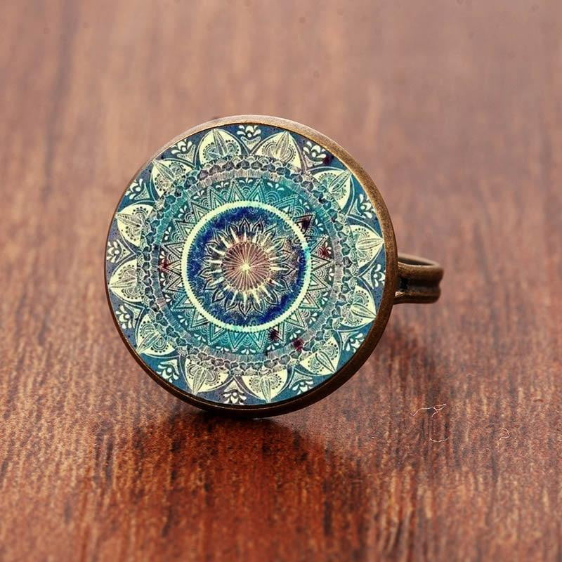 Vintage Buddhism Chakra Henna Glass Dome Cabochon Ring Om Yoga Mandala Rings For Women Ethnic Indian Jewelry