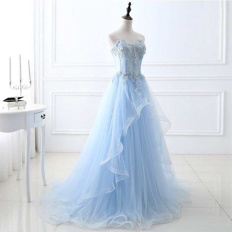 Prom Dresses Long 2020 Sweetheart Light Sky Blue Sexy Tulle Lace Applique Beading Women Bandage Prom Gowns