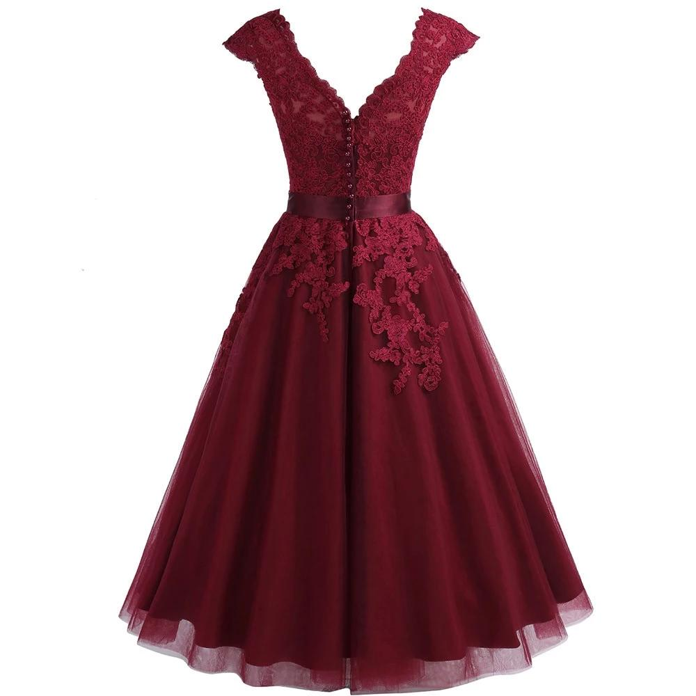 Cheap Burgundy Lace Tea Length Homecoming Dress Short V Neck Cap Sleeves Plus Graduation Dress Gown