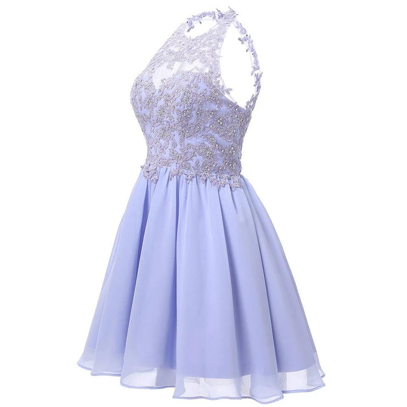 Short Royal Blue Homecoming Dress 2019 Mini Beaded Lace Appliques Open Back Halter Neck Graduation Prom Gown