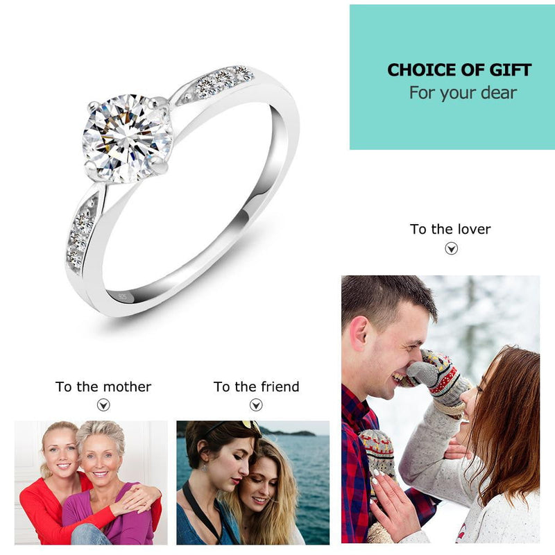 Promise 925 Sterling Silver Ring with Cubic Zirconia Classic Wedding Rings for Women Bridesmaid Gifts