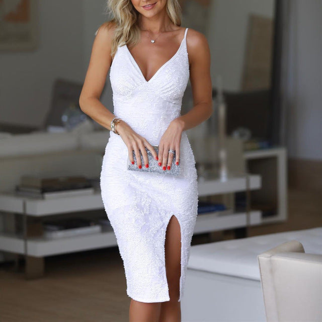 White Sequin vestido slit Short Cocktail Dresses Party Graduation Women Sexy Prom Robe Semi Formal Dress
