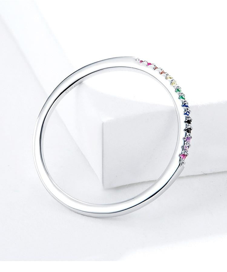 Rainbow Color CZ Finger Rings for Women Stackable Match Joker Wedding Statement Sterling Silver 925 Jewelry