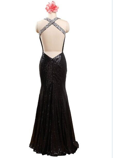 Sexy Black V Neck Backless Long Mermaid Sequin Prom Dresses Sequined Sleeveless Sparkle Evening Party Gowns
