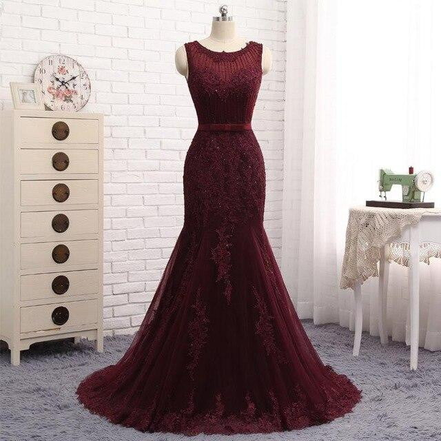 Burgundy Mermaid Evening Dress Floor Length Tulle With Lace Appliques Beaded Sweep/Brush Sleeveless Prom Dresses