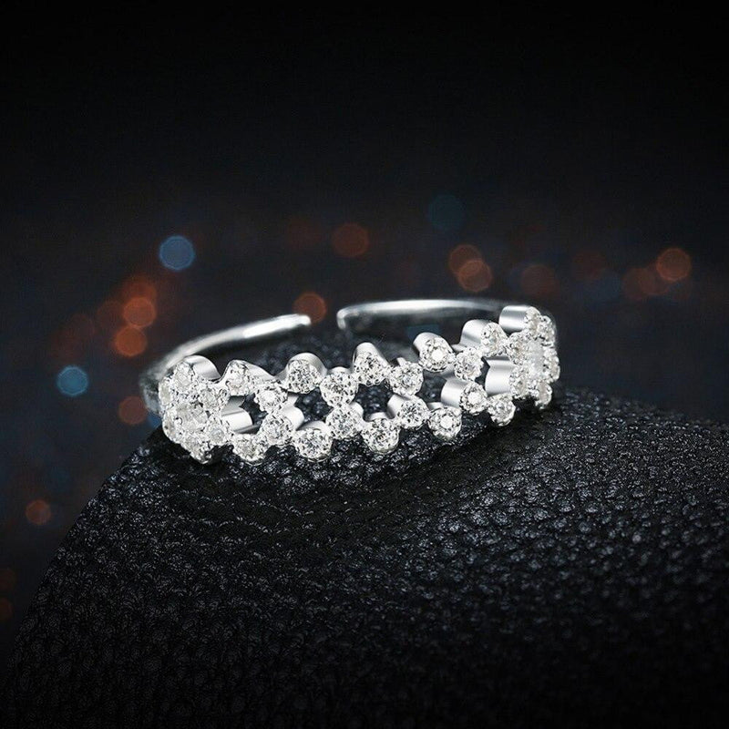 Genuine 925 Sterling Silver Double Row Clear CZ Finger open free size Rings for Women Wedding Jewelry Gift