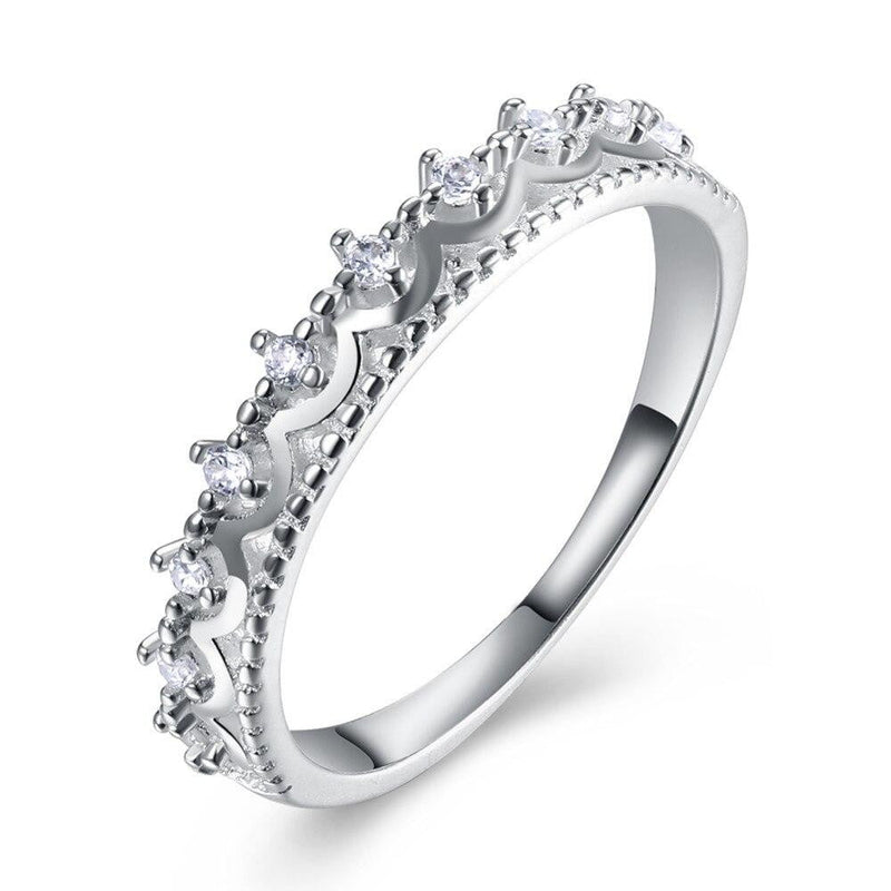 Romantic Authentic 925 Sterling Silver full small CZ stone around  Finger Rings for Women Wedding Engagement Jewelry