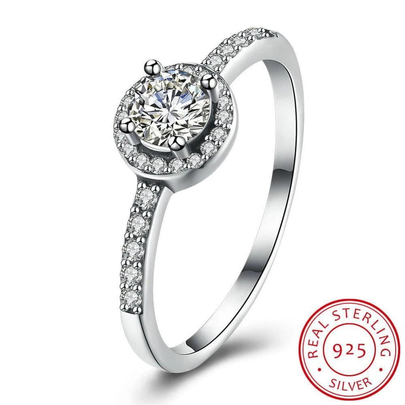 100% Real Collection 925 Sterling Silver Sparkling solid round Ring with zircon Women Jewelry Saint Valentine's Day Gift