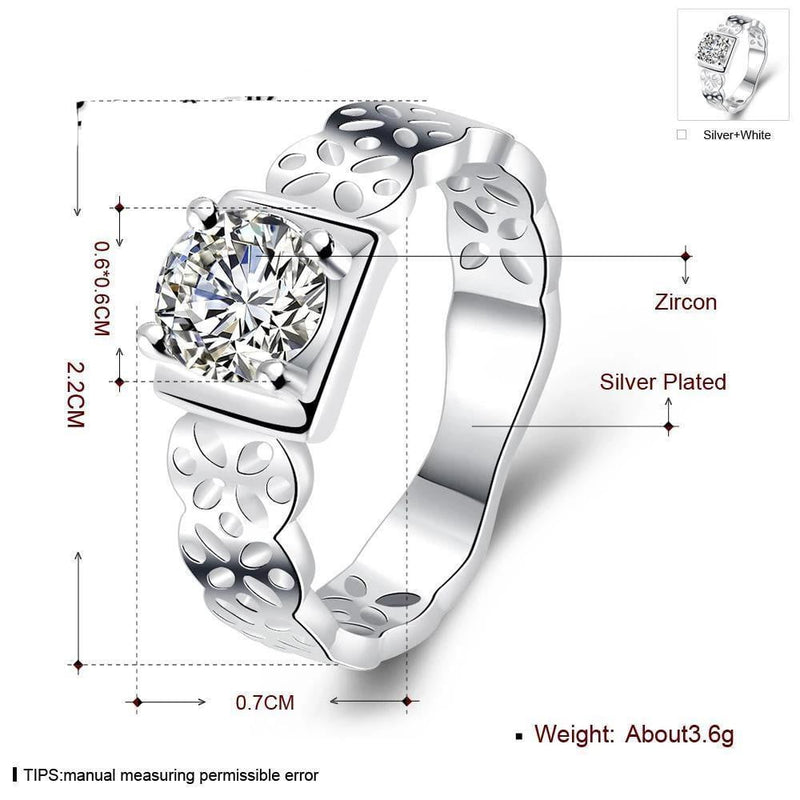 Newest Design silver plated ring for women Fashion wedding Jewelry engagement ring inlaid big Crystal bague femme R717