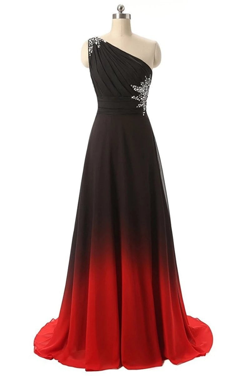 Simple One Shoulder Black Red Ombre Prom Dresses 2019 With Chiffon Plus Size Evening Party Gowns Vestido Longo QA1078