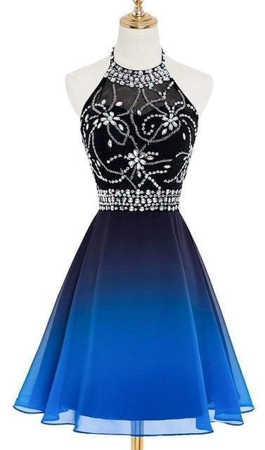 2019 Halter Gradient Chiffon Short Prom Dresses Ombre Beads Evening Party Gowns Homecoming Dress QA1559