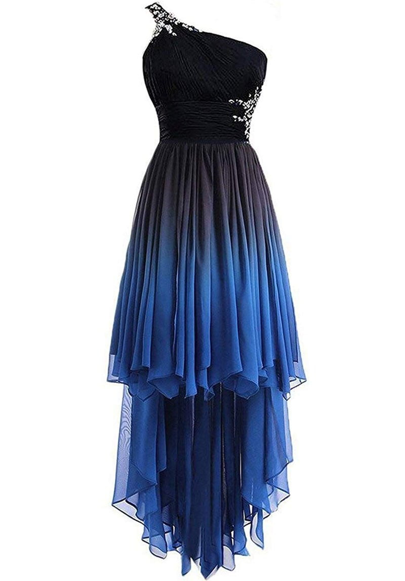 2019 One Shoulder Hi-Lo Gradient Chiffon Prom Dresses Ombre Beads Crystal Evening Homecoming Party Gown QA1565