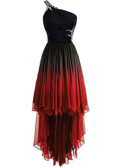Red and Black One Shoulder Hi-Lo Gradient Chiffon Prom Dresses Ombre Beads Crystal Evening Homecoming Party Gown