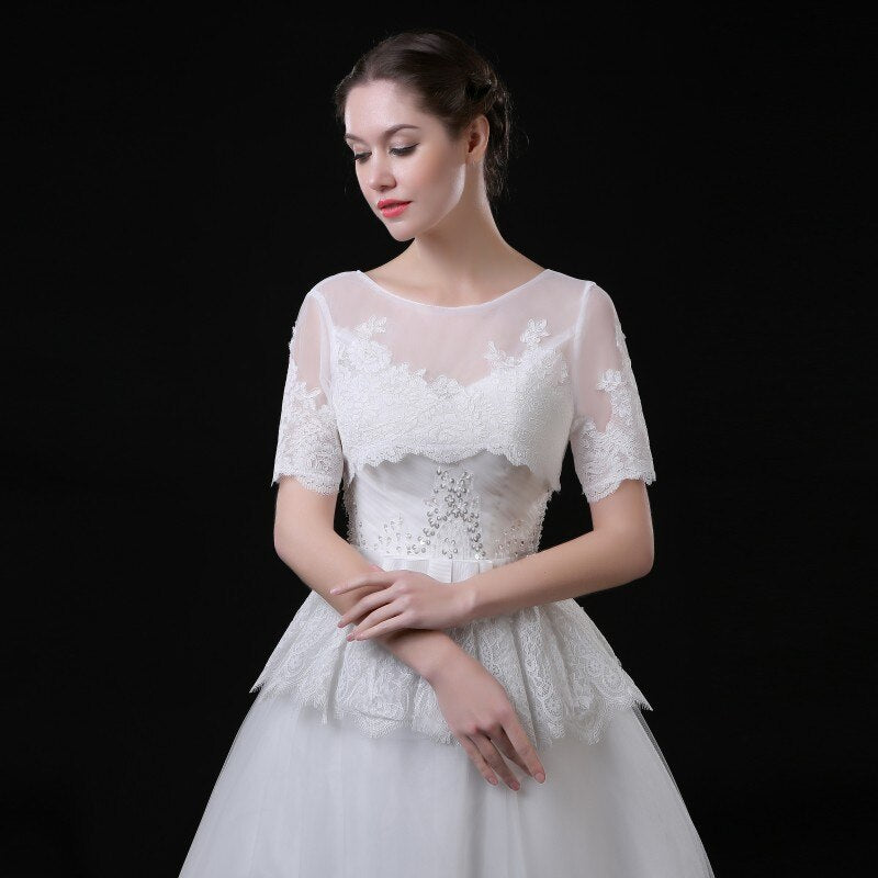 Elegant Appliques Short Sleeve Bridal Boleros Wedding Jackets for Bride Wrap for Evening Party 2019 Hot Sale